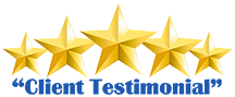 five gold stars and client testimonial text